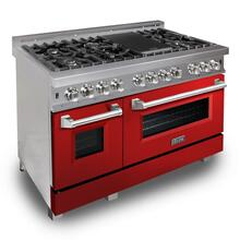 ZLINE 48 in. Professional Dual Fuel Range in DuraSnow® Stainless Steel with Red Gloss Door (RAS-RG-48)