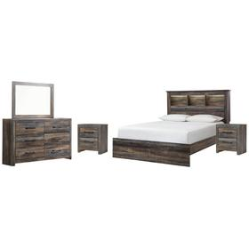 Queen Bookcase Bed With Mirrored Dresser and 2 Nightstands
