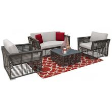 Graphite 4 PC Seating Set w/off-white cushions