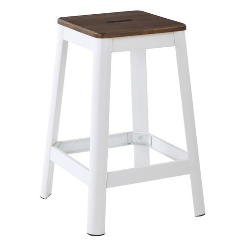 "Hammond 26"" Metal Barstool With Darkwood Seat and Frosted White Frame Finish"