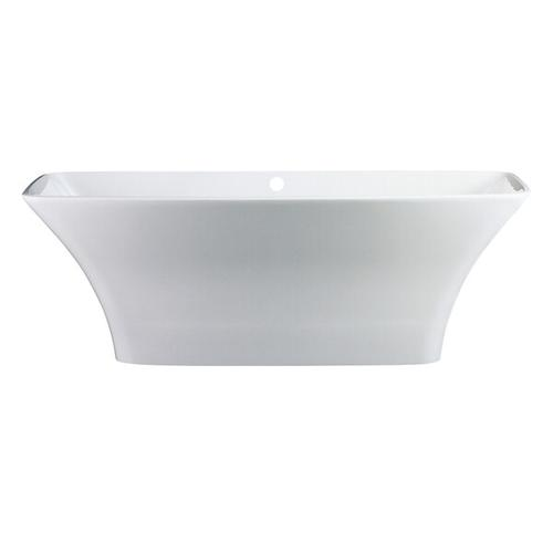 Ravello 68-5/8 Inch X 29-5/8 Inch Freestanding Soaking Bathtub in Volcanic Limestone™ with Overflow Hole - Gloss White