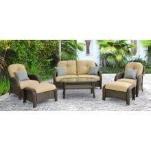 Hanover Newport 6-Piece Woven Seating Set in Cream, NEWPORT6PC