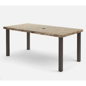 """42"""" x 82"""" Rectangular Balcony Table (with Hole) Ht: 34.25"""" Post Aluminum Base (Model # Includes Both Top & Base)"""