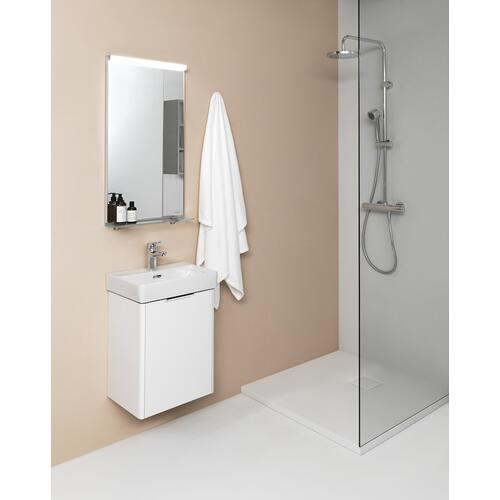 Traffic Grey Vanity unit, 1 door, door hinge left, incl. drawer organizer, matching small washbasin 815961