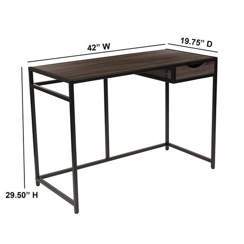 Flash Furniture - Homewood Collection Driftwood Finish Computer Desk with Pull-Out Drawer and Black Metal Frame