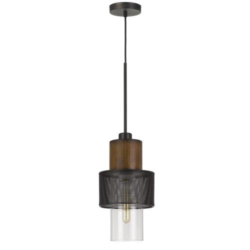 Mckee Metal/Wood Pendant Light With Glass Shade (Edison Bulb Not included)