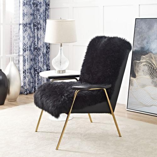 Modway - Sprint Sheepskin Armchair in Black Black