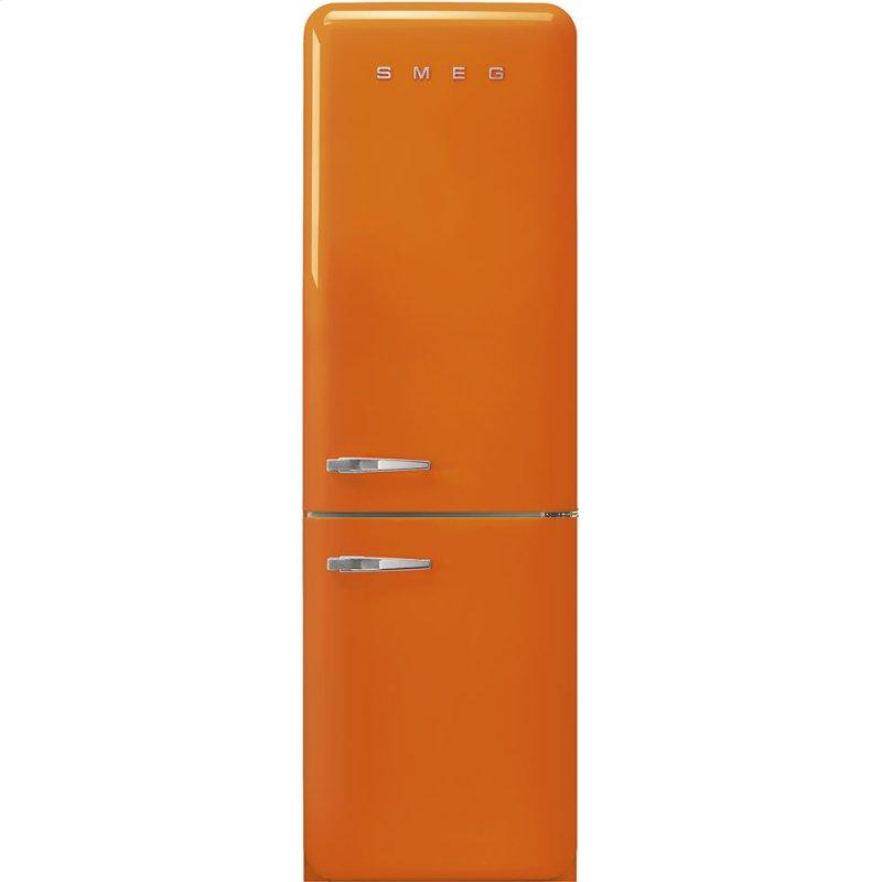 "'50s Style No Frost' Fridge-Freezer, Orange, Right Hand Hinge, 60 cm (Approx 24"")"