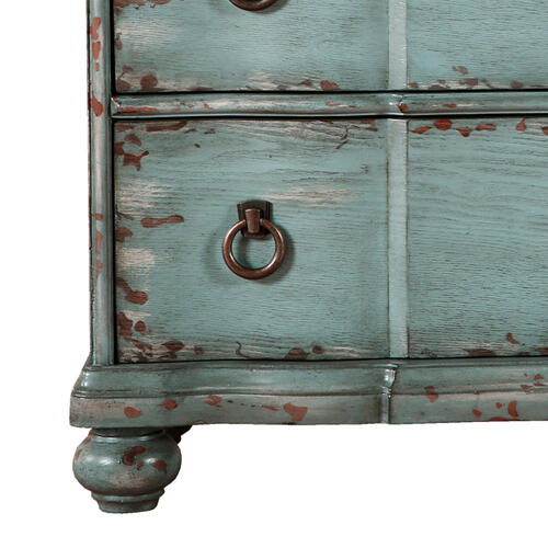 Distressed Three Drawer Farmhouse Chest in River Blue