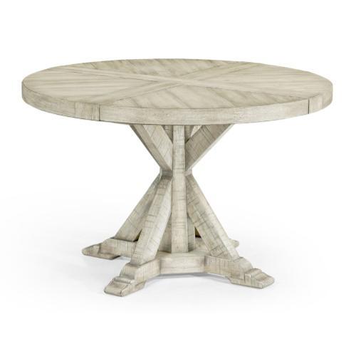 """48"""" Whitewash Driftwood Circular Dining Table"""
