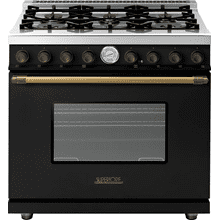 Range DECO 36'' Classic Black matte, Bronze 6 gas, gas oven
