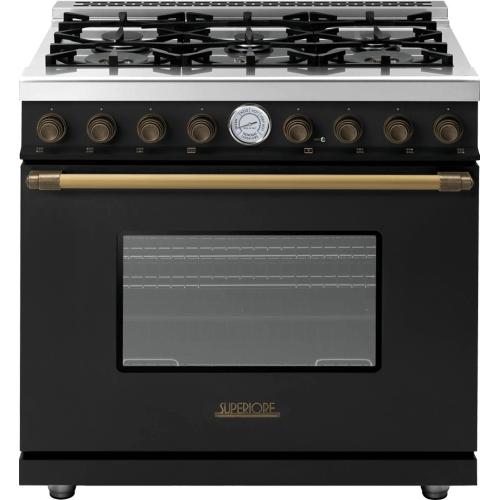 Superiore - Range DECO 36'' Classic Black matte, Bronze 6 gas, gas oven