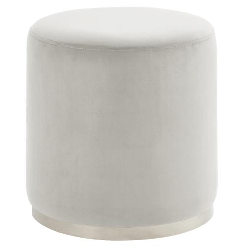 Opus Round Ottoman in Ivory/Silver