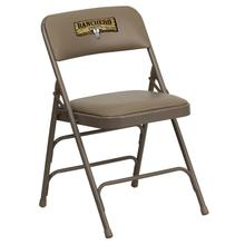 Embroidered HERCULES Series Curved Triple Braced & Quad Hinged Beige Vinyl Upholstered Metal Folding Chair