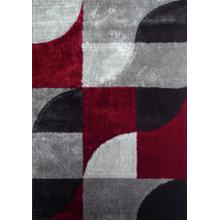 Vibrant Hand Tufted Modern Shag Lola 13 Area Rug by Rug Factory Plus - 5' x 7' / Gray Red