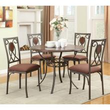 "5 PC 42"" Rd. Dining Set/ Metal-Wood"