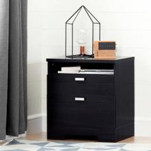 Nightstand with Drawers and Cord Catcher - Black Oak