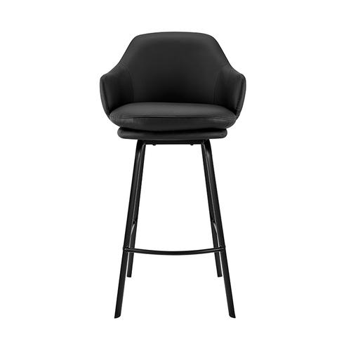 """Armen Living - Brigden Black Faux Leather and Black Metal Swivel 26"""" Counter Stool"""