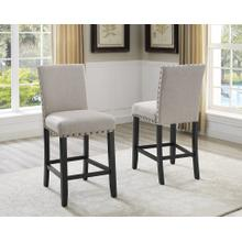 See Details - Biony Tan Fabric Counter Height Stools with Nailhead Trim, Set of 2