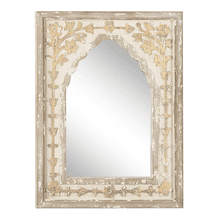 Distressed Ivory & Gold Carved Floral Arch Wall Mirror