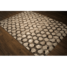 Durable Handmade Natural Leather Patchwork Cowhide PCH153 Area Rugs by Rug Factory Plus - 5' x 7' / Silver