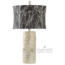 View Product - Willow log base table lamp in berkeley finish with custom designer embroidered fabric shade