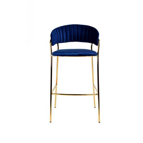 Modrest Brandy Modern Blue Fabric Bar Stool (Set of 2)