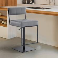 Michele Contemporary Swivel Barstool in Matte Black Finish and Grey Faux Leather