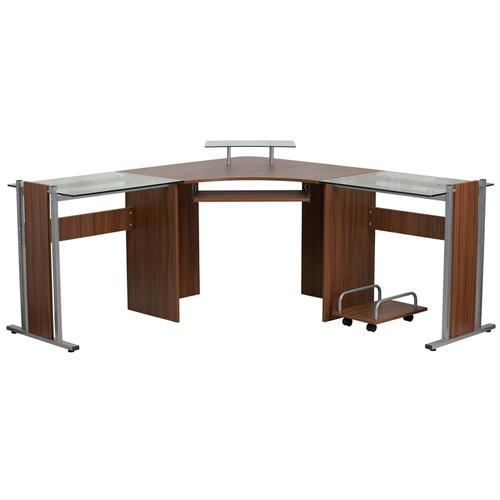 Flash Furniture - Teakwood Laminate Corner Desk with Pull-Out Keyboard Tray and CPU Cart