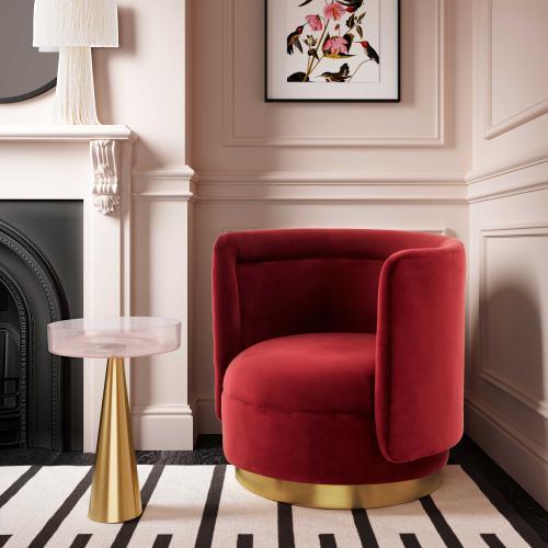 Tov Furniture - Remy Maroon Velvet Swivel Chair
