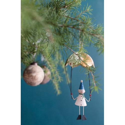 "3""x 3""x 7"" Gold Parachute Ornament (Snowman Option)"