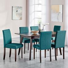 Prosper 7 Piece Upholstered Fabric Dining Set in Cappuccino Teal