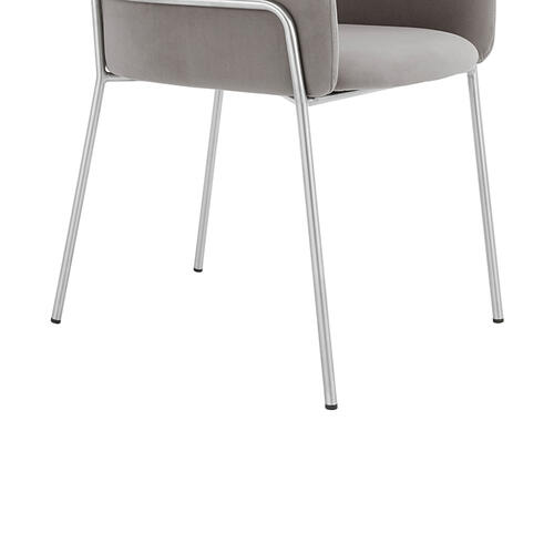 Portia Gray Velvet and Brushed Stainless Steel Dining Room Chairs - Set of 2