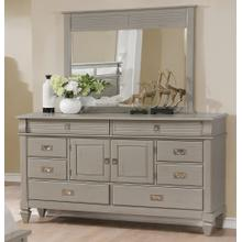 York 204 8 Drawers and 2 Doors Antique Grey Dresser and Mirror