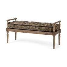 Fullerton II 57L x 21W Jute Patterned Top W/Brown Wood Base Accent Bench