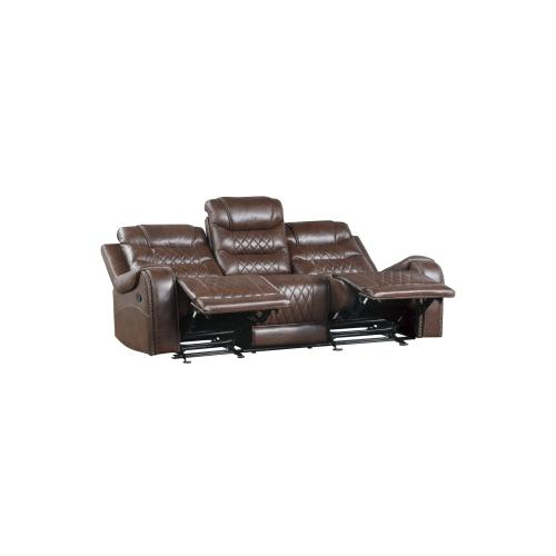 Double Reclining Sofa with Drop-Down Cup Holders, Receptacles and USB ports