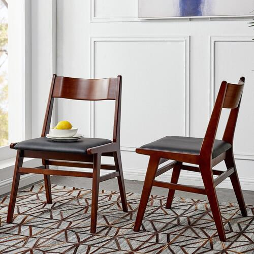 Norman PU Bamboo Dining Side Chair, Black/Walnut