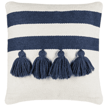 Blue & Natural Striped Pillow with Tassels