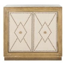 See Details - Erin 2 Door Chest - Rustic Oak Linen / Copper / Mirror