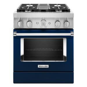 KitchenAid® 30'' Smart Commercial-Style Dual Fuel Range with 4 Burners - Ink Blue Product Image