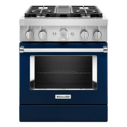 KitchenAid® 30'' Smart Commercial-Style Dual Fuel Range with 4 Burners - Ink Blue
