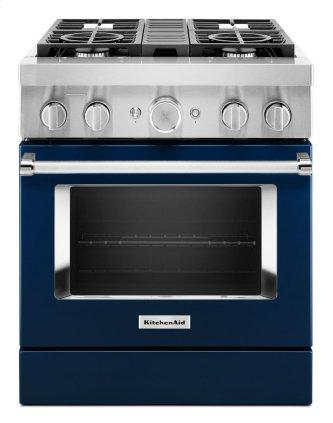 KitchenAid™ 30'' Smart Commercial-Style Dual Fuel Range with 4 Burners - Ink Blue