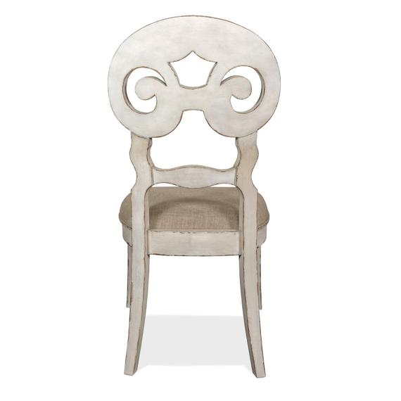 Riverside - Mix-n-match Chairs - Scroll Back Upholstered Side Chair - Chipped White Finish