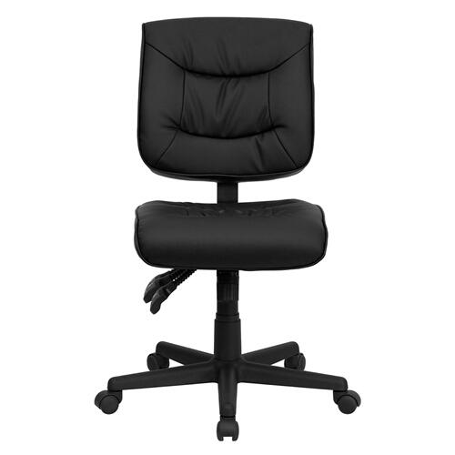 Gallery - Mid-Back Black LeatherSoft Multifunction Swivel Ergonomic Task Office Chair