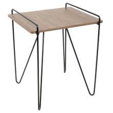 Loft End Table - Black Metal, Walnut Wood