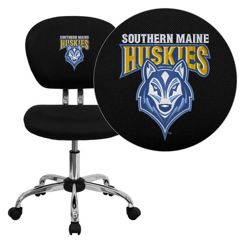 Southern Maine Huskies Embroidered Black Mesh Task Chair with Chrome Base