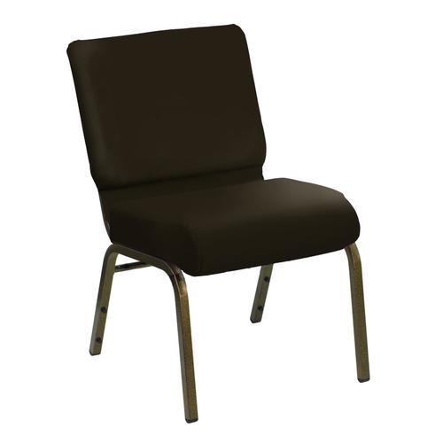 HERCULES Series 21''W Church Chair in E-Z Sierra Brown Vinyl - Gold Vein Frame