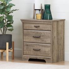 Nightstand with Charging Station and Drawers - Weathered Oak