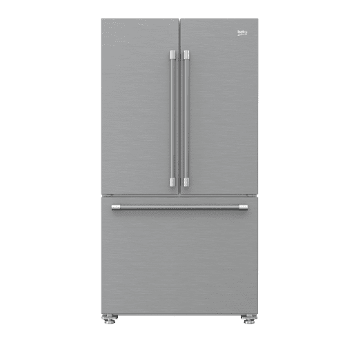 "36"" French Three-Door Stainless Steel Refrigerator with Auto Ice Maker, Water Dispenser"