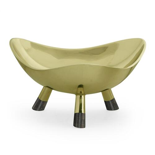 Large Triangular Antique Light Brass Dish